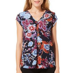 DR2 Womens Floral Print V-Neck Cap Sleeve Top