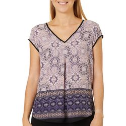 DR2 Womens Geometric Tile Print V-Neck Short Sleeve Top