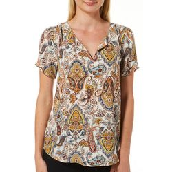 DR2 Womens Paisley Print Split Neck Short Sleeve Top