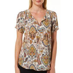 DR2 Womens Paisley Print Split Neck Short Sleeve Top