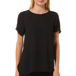 DR2 Womens Solid Crew Neck Tiered Sleeve Top