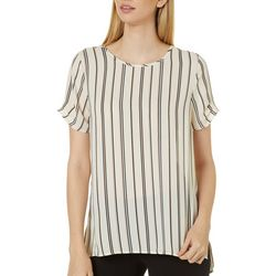 DR2 Womens Striped Crew Neck Tiered Sleeve Top