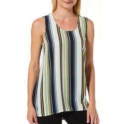 DR2 Womens Vertical Striped High-Low Sleeveless Top