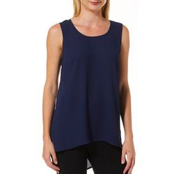 DR2 Womens Solid High-Low Sleeveless Top