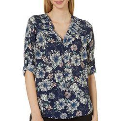 Black Rainn Womens Floral Print Split Neck Top