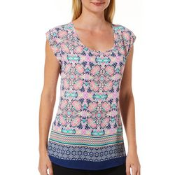 DR2 Womens Floral Gathered Neckline Cap Sleeve Top