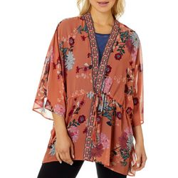 DR2 Womens Floral Tie Front Kimono Top