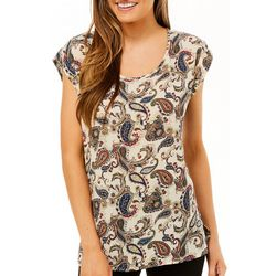 DR2 Womens Paisley Print Cap Sleeve Top