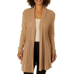 Notations Womens Lurex Open Front Longline Cardigan