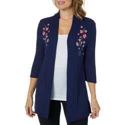 Notations Womens Embroidered Floral Ribbed Cardigan