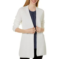 Cyrus Womens Waffle Knit Open Front Long Sleeve Cardigan