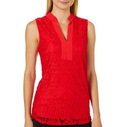 Sunny Leigh Womens Solid Lace Split Neck Sleeveless Top