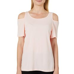 Allison Taylor Womens Solid Cold Shoulder Top