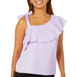 Sunny Leigh Womens Ruffle Stripe One Shoulder Top