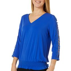 Sunny Leigh Womens Solid Crochet Detail V-Neck Top