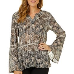 Sunny Leigh Womens Geometric Long Sleeve Top