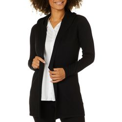 Cyrus Womens Solid Open Front Hooded Cardigan