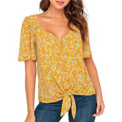 Lush Clothing Womens Floral Short Sleeve Tie Front Top