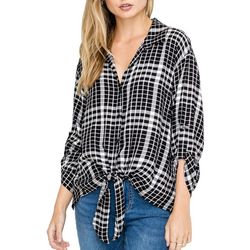 Lush Clothing Womens Plaid Tie Front Button Down Top