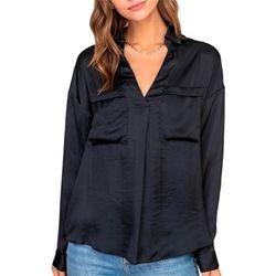 Lush Clothing Womens Long Sleeve Double Pocket V-Neck Top