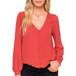 Lush Clothing Womens Solid Button Down Long Sleeve Top