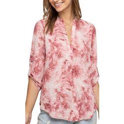 Lush Clothing Womens Tie Dye Roll Tab Sleeve Top