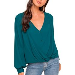 Lush Clothing Womens Solid Draped Crossover Top