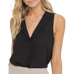 Lush Clothing Womens Collared Sleeveless Top