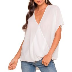 Lush Clothing Womens Crossover Short Sleeve Top