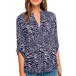 Lush Clothing Womens Animal Print Roll Tab Sleeve Top