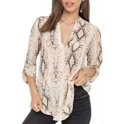 Lush Clothing Womens Snake Print Roll Tab Sleeve Top