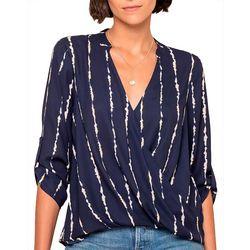 All In Favor Womens Stripe Print Wrap Top