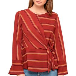 All In Favor Womens Striped Wrap Top