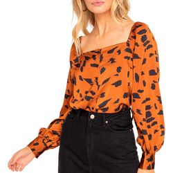 Lush Clothing Womens Long Sleeve Animal Print Top