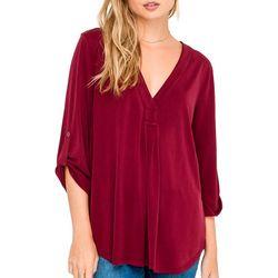 Lush Clothing Womens 3-Quarter Sleeve V-Neck Top