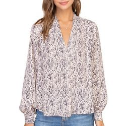 Lush Clothing Womens Long Sleeve Printed V-Neck Top