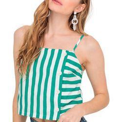 Lush Clothing Womens Stripe Front Botton Tank Top
