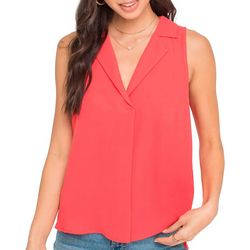 Lush Clothing Womens Solid Sleeveless Pleated V-Neck Top