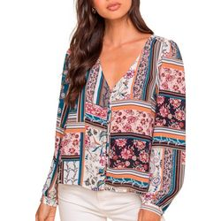 Lush Clothing Womens Long Sleeve Patchwork V-Neck Top