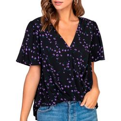 Lush Clothing Womens Floral Short Sleeve Twist Top