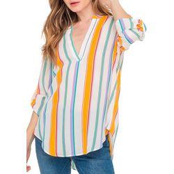 Lush Clothing Womens Stripe Roll Tab Sleeve Top