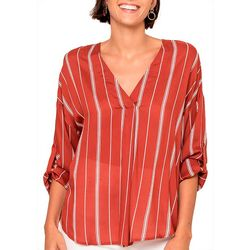 All In Favor Womens Stripe Print Roll Tab Sleeve Top