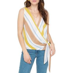 All In Favor Womens Striped Surplice Sleeveless Top