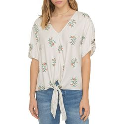 All In Favor Womens Floral Print Tie Front Short Sleeve Top