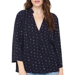All In Favor Womens Dot Print V-Neck Long Sleeve Top