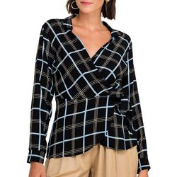 All In Favor Womens Plaid Print Faux Wrap Long Sleeve Top