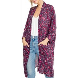 All In Favor Womens Floral Print Long Sleeve Kimono Top