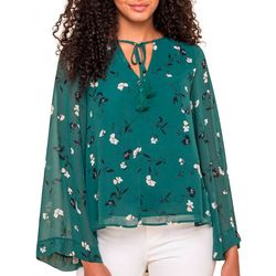 All In Favor Womens Floral Print Long Sleeve Top