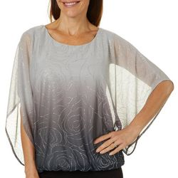 Sara Michelle Womens Ombre Rose Glitter Poncho Top