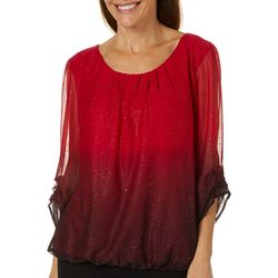 Sara Michelle Womens Ombre Glitter Ruched Sleeve Top